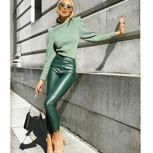 NWT Zara Green Faux Leather Leggings Coated Pants XS Blogger Favorite